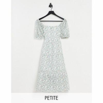 インフルエンス Influence Petite レディース ワンピース ワンピース・ドレス floral midi tea dress with shirred sleeves マルチカラー