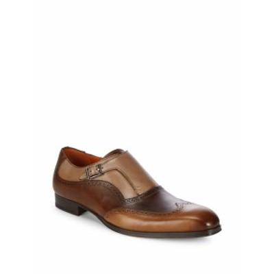 メズラン メンズ シューズ モンクストラップ Wingtip Toe Leather Monk-Strap Shoes