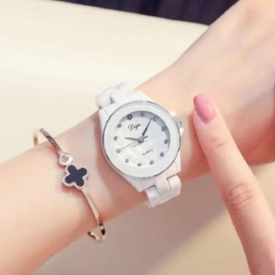 DIGU レディース腕時計 クォーツ ホワイトセラミック ラグジュアリー ブレスレット ファッション