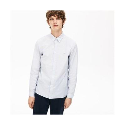 LACOSTE/ラコステ クロコダイルプリントポプリンシャツ ネイビー×ホワイト 41(日本サイズXL)