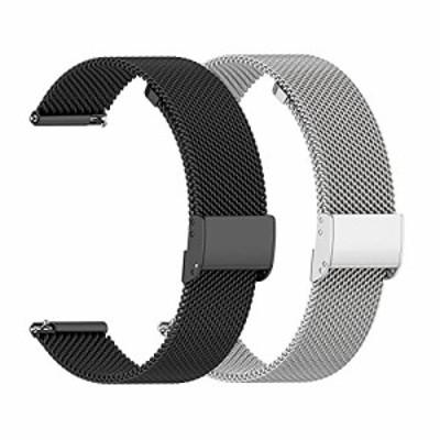 AGUPERFIT 時計バンド 20mm 通気性 柔らかい ステンレスメッシュ クイックリリース ベルト スマートウォッチに対応 (20mm, 2色 ブラック+