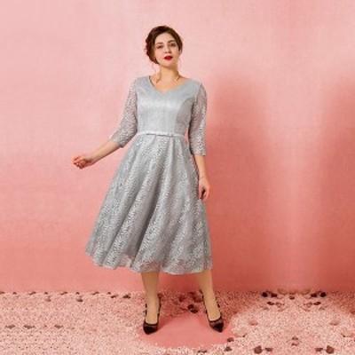 大きいサイズカラードレス/ミモレ丈/ウェディングドレス/袖付き/Vネックライン/編み上げ/グレー/2XL~7XL/fhd21
