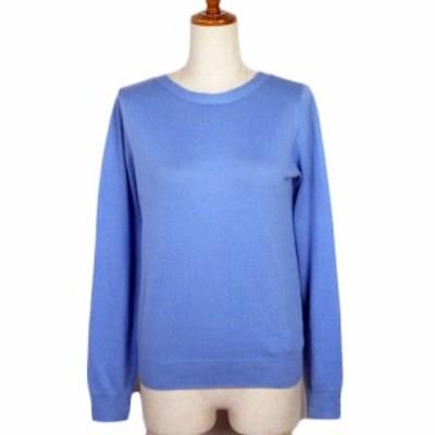 【中古】ドゥクラッセ DoCLASSE セーター ニット リボン ウール混 M 青 ブルー レディース