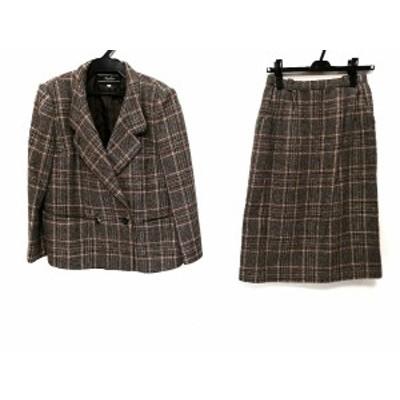 レリアン Leilian スカートスーツ サイズ9 M レディース - ブラウン×黒×マルチ チェック柄【還元祭対象】【中古】20200918