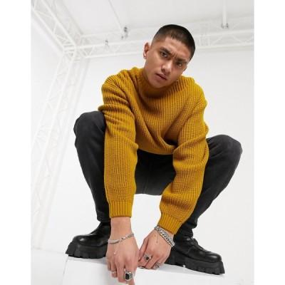 エイソス セーター メンズ ASOS DESIGN knitted oversized rib turtle neck jumper in mustard エイソス ASOS