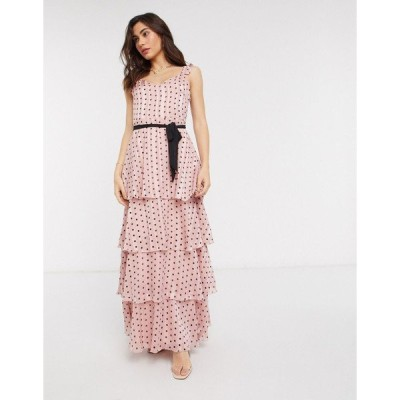 ヴィラ レディース ワンピース トップス Vila maxi dress with tie waist and tiered skirt in pink polka dot Multi