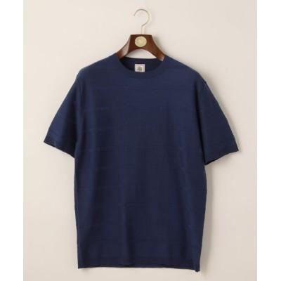 J.PRESS/ジェイプレス ブロックボーダーニットTシャツ ブルー系 M