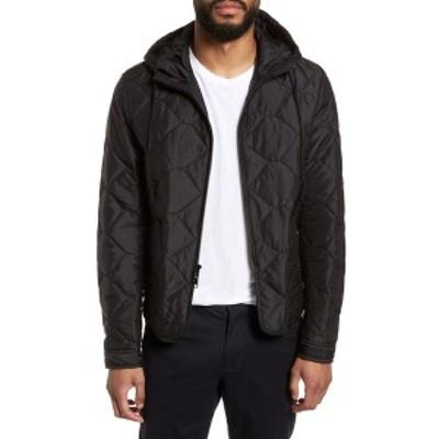ヴィンス メンズ ジャケット&ブルゾン アウター Quilted Zip Front Hooded Jacket BLACK