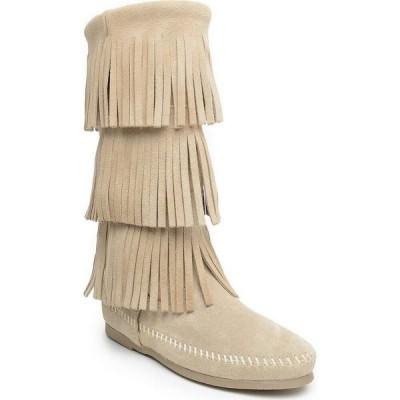 ミネトンカ Minnetonka レディース ブーツ シューズ・靴 Calf Hi 3-Layer Fringe Boots Stone