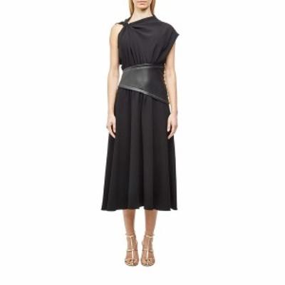 プロエンザショラー レディース ワンピース トップス Crepe Asymmetrical Dress with Leather Waistband Black/Black