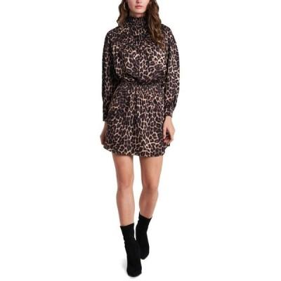 ワンステイト レディース ワンピース トップス Animal-Print Luxe Smocked Mock-Neck Dress