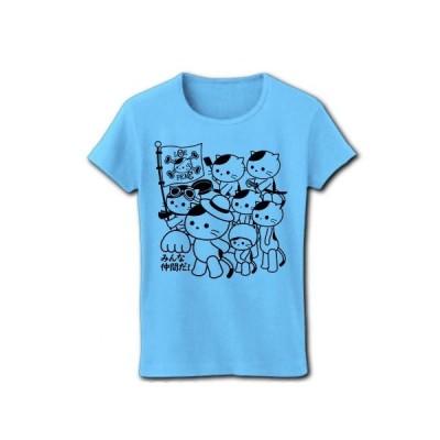 「みんな仲間だ!」ねこ仲間 リブクルーネックTシャツ(ライトブルー)