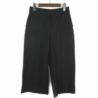 【中古】ケイトスペード KATE SPADE Stretch Twill Wide Leg Crop Pants クロップドパンツ ツイル ワイド ブラック 2