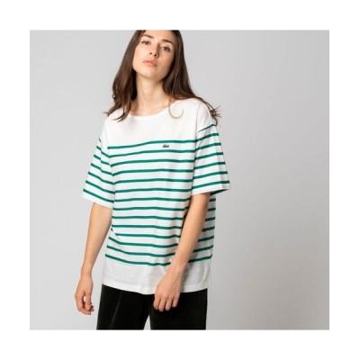 LACOSTE/ラコステ リップルボーダージャージTシャツ グリーン 40(XL)