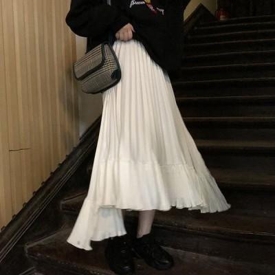 プリーツヘムスカート変形韓国オルチャンストリート原宿系フィッシュテールアシメゴム無地ボトムス