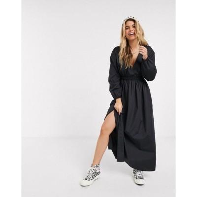 エイソス レディース ワンピース トップス ASOS DESIGN cotton poplin plunge wrap maxi dress with elasticated waist Black