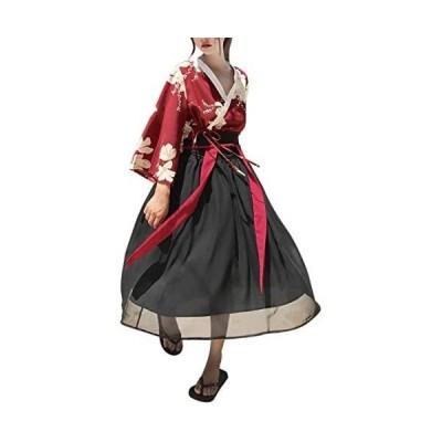 レディース チャイナ風 着物 上下セット 白木蓮 花柄 和風 コスチューム 古典服 衣装 踊り 衣装 芸者 (白木蓮(赤+黒) フリーサイズ)