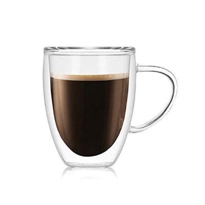 【morningplace】 ダブルウォール グラス タンブラー マグカップ 二重構造 耐熱 カップ (350ml)