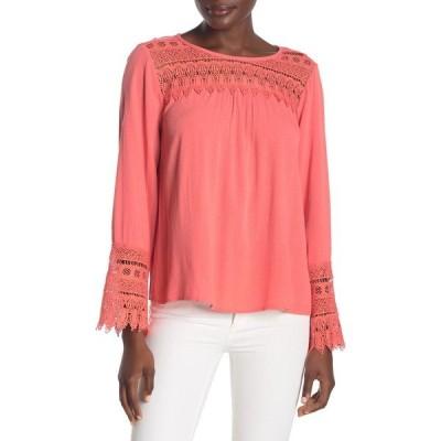 フォーゴットングレイス レディース シャツ トップス Dressy Crochet Lace Knit Blouse CORAL