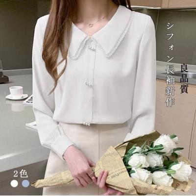 長袖シフォンシャツドールカラートップシャツ
