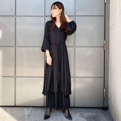 リエンダ rienda Washer pleats Shirt OP (ブラック)