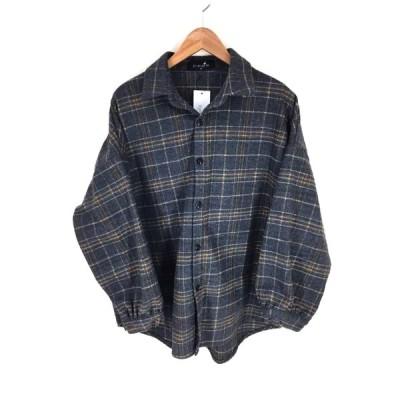 ネオス neos ワイドシルエット ビッグチェックシャツ メンズ M 中古 古着 210609