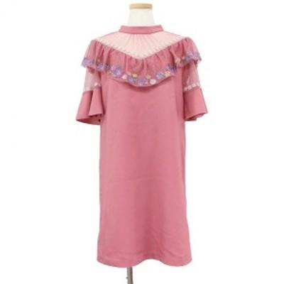 Lily Brown リリーブラウン レトロ フラワー 刺繍 ワンピース チュール ピンク 1 【レディース】【中古】【K2675】