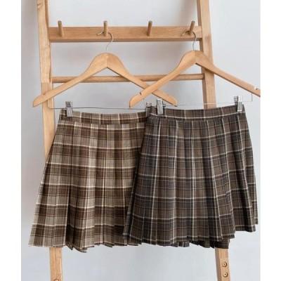 MIXXMIX レディース スカート Pleated Check A-Line Mini Skirt