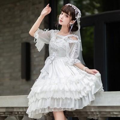 ロリータ ワンピース 花嫁 ゴスロリ Aライン Lolita メイド レディース コスチューム パーティ ファッション ホワイト シャツ追加可