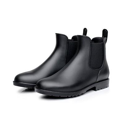 Colorxy Women's Ankle Rain Boots Fashion Elastic Chelsea Booties Anti Slip Waterproof Slip On Short Rain Booties Black【並行輸入品】
