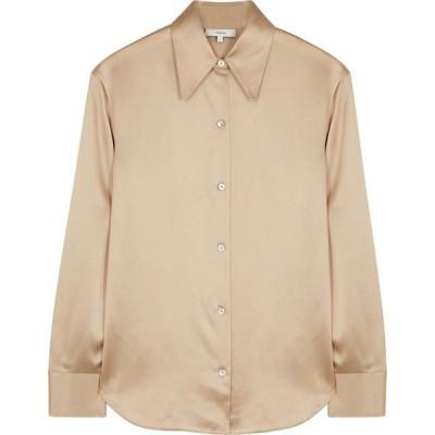ヴィンス Vince レディース ブラウス・シャツ トップス champagne silk-satin shirt Natural