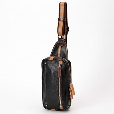オティアス(Otias)/【日本製】シュリンクレザーオイル仕上げ横型ボディバッグ/ウエストバッグ