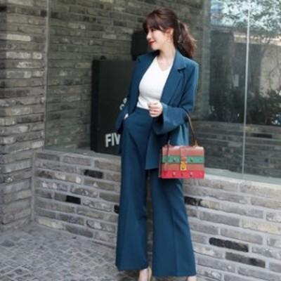 韓国 ファッション レディース セットアップ パンツスーツ 大きいサイズ チェック ジャケット パンツ ワイドパンツ フォーマル レトロ パ