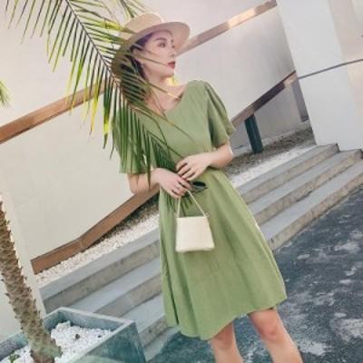 フレアワンピース ひざ丈 体型カバー ゆったり 背中開き 半袖 大人可愛い カジュアル 韓国ファッション トレンド レディース マタニティ