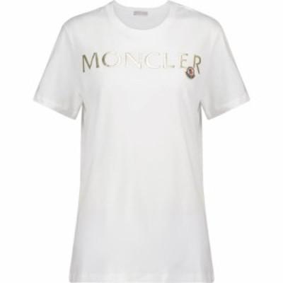 モンクレール Moncler レディース Tシャツ トップス Embroidered cotton T-shirt White