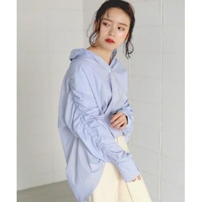 Bou Jeloud / ロング袖ギャザーBIGシャツ/シンプルオーバーサイズシャツ WOMEN トップス > シャツ/ブラウス