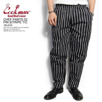 COOKMAN クックマン シェフパンツ CHEF PANTS 02 PIN STRIPE TC BLACK メンズ レディース 男女兼用 イージパンツ コックマン