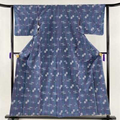紬 美品 秀品 格子 燕 青灰色 袷 身丈157cm 裄丈62.5cm S 正絹 【中古】 PK70