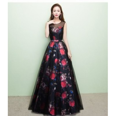 ロングドレス 花柄 演奏会 パーティードレス 結婚式 ドレス ウェディングドレス お呼ばれ ピアノ 発表会 フォーマル ドレス 20代 30代