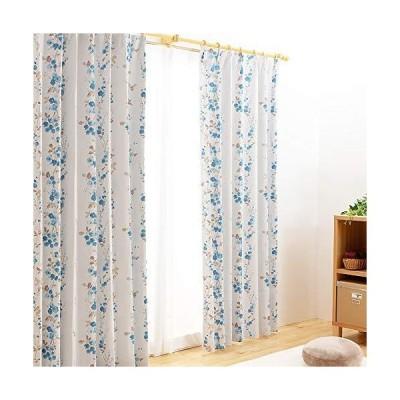 全240種から選べるカーテン カーテン 2級遮光 4枚組(ドレープ2枚・レース2枚) UVカット 洗える 外から見えにくい 形状記憶 ブルー