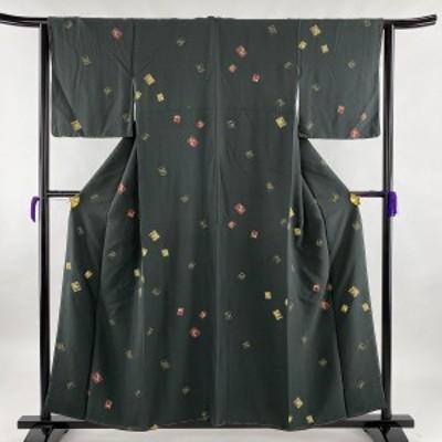 【在庫一掃】 小紋 名品 色紙 干支 金彩 深緑 袷 身丈156.5cm 裄丈63cm S 正絹 中古