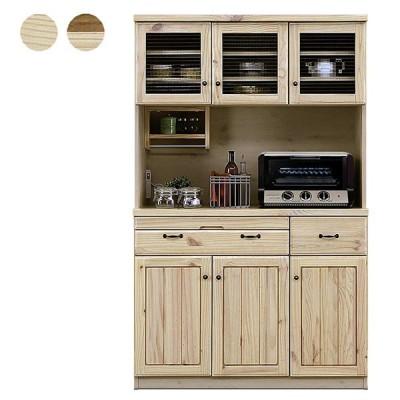 日本製 カントリー調 食器棚 幅114 ダイニングボード キッチン 収納 おしゃれ モダン 北欧 パイン 無垢 木製 完成品