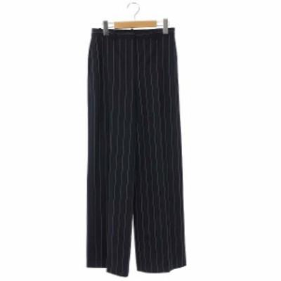 【中古】セオリー 20SS TRACEABLE STRIPE WIDE TROUSER パンツ ワイド ストレート ストライプ 0 紺 白
