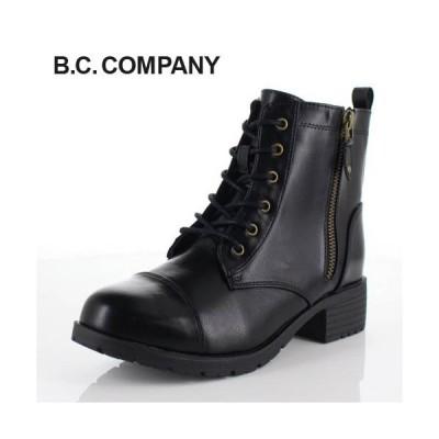 B.C COMPANY ビーシーカンパニー 靴 76701 ショートブーツ ラウンドトゥ 防水 編み上げ レースアップ 黒 ブラック レディース
