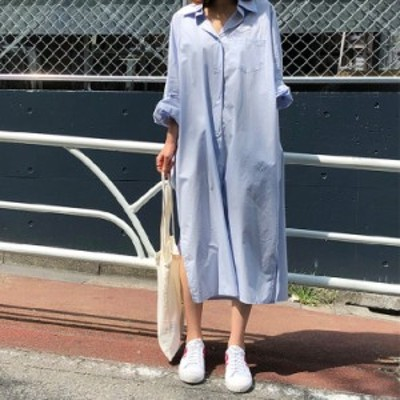 シャツワンピース レディース ミモレ 長袖 ゆったり 大きい 体型カバー ロングシャツ きれいめ 春夏 smartstore 送料無料!