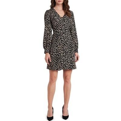 ヴィンスカムート レディース ワンピース トップス Long Sleeve Animal Print Button Front Dress