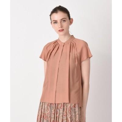 シャツ ブラウス スタンドタックフレンチシャツ