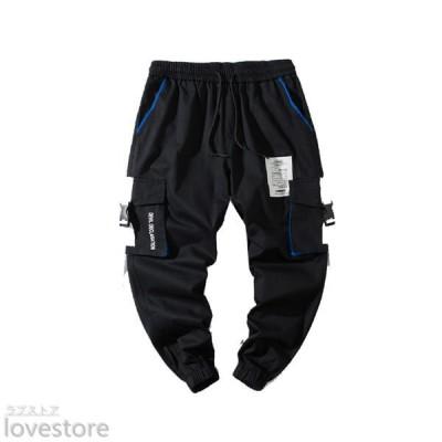 カーゴパンツ ジョガーパンツ ワイド 男性用ズボン メンズ ストレッチ ミリタリー チノパン 快適 スウェット 調整紐 ポケット付き