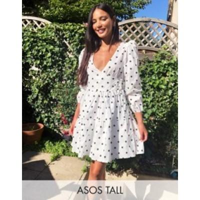エイソス レディース ワンピース トップス ASOS DESIGN Tall cotton poplin trapeze mini dress in spot White/black spot