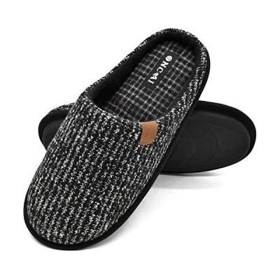 ONCAI Mens Slippers Black Knit Stripes Cozy Memory Foam Scuff Slippers Slip